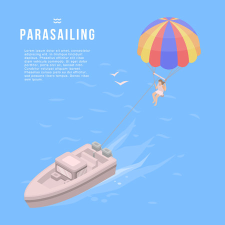 Parasailing banner, isometric style