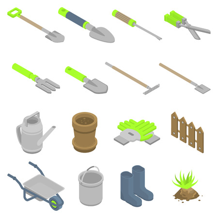 Gardening tools icons set. Isometric set of gardening tools vector icons for web design isolated on white background