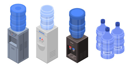 Cooler water icons set, isometric style