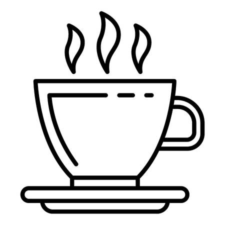 Hot coffee cup icon. Outline hot coffee cup vector icon for web design isolated on white background