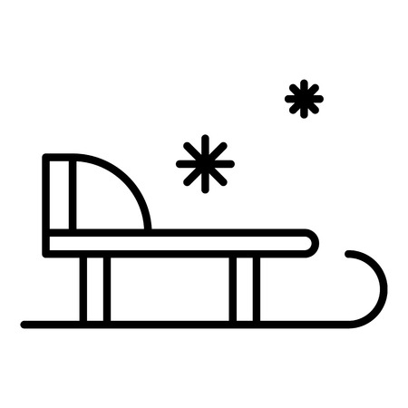 Winter sled icon. Outline winter sled vector icon for web design isolated on white background Illustration