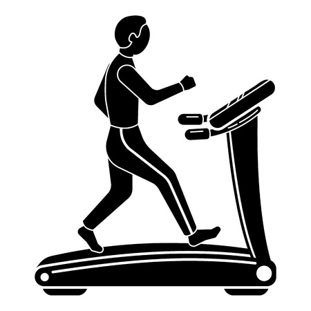 The guy on the treadmill icon. Simple illustration of the guy on the treadmill vector icon for web design isolated on white background Vettoriali