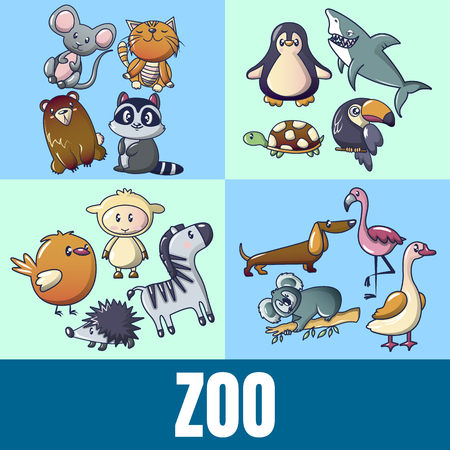Zoo concept banner, cartoon style