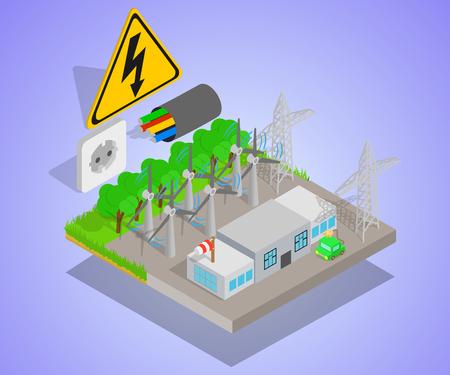 Bannière de concept d'éolienne, style isométrique