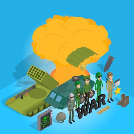 War concept banner. Isometric banner of war vector concept for web, giftcard and postcard Vektoros illusztráció
