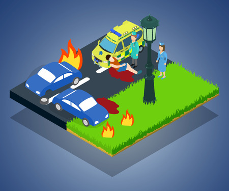 Crash concept banner. Isometric banner of crash vector concept for web, giftcard and postcard