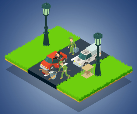 Animal crash concept banner. Isometric banner of animal crash vector concept for web, giftcard and postcard