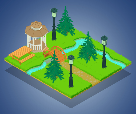 Park territory concept banner. Isometric banner of park territory vector concept for web, giftcard and postcard