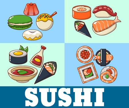 Sushi concept banner. Cartoon banner of sushi vector concept for web, giftcard and postcard