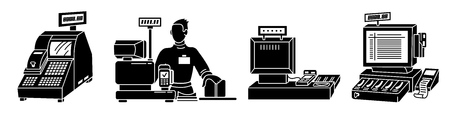 Cashier icons set, simple style