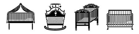 Crib icons set, simple style Illusztráció