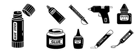 Glue icons set, simple style