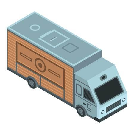 Coffee truck icon, isometric style