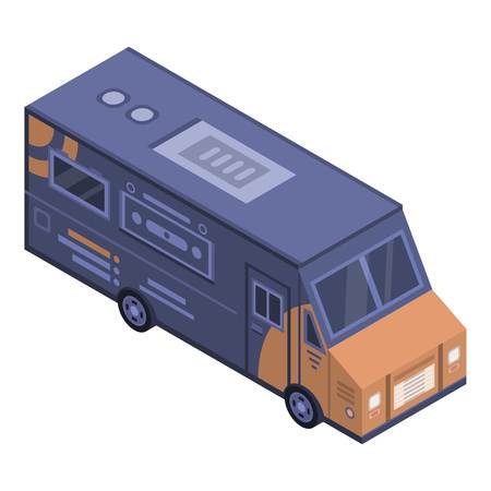 Street drink truck icon, isometric style