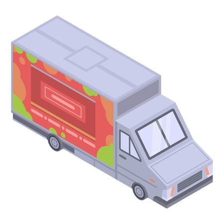 Hamburger food truck icon. Isometric of hamburger food truck vector icon for web design isolated on white background