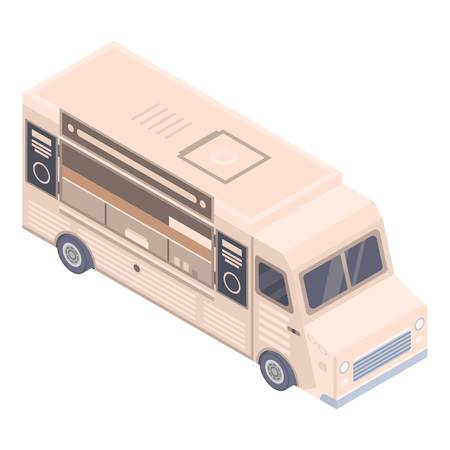 Coffee shop truck icon, isometric style