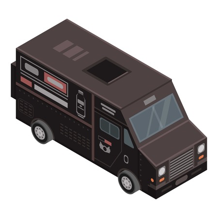 Black drink truck icon, isometric style