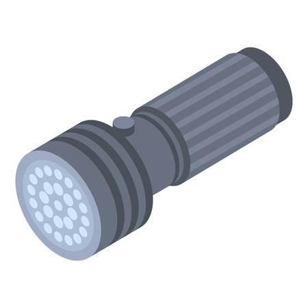 Led flashlight icon, isometric style