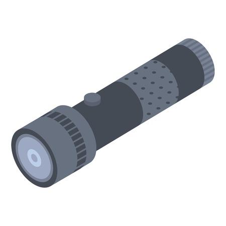Black flashlight icon, isometric style