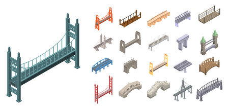 Bridges icons set, isometric style Vectores