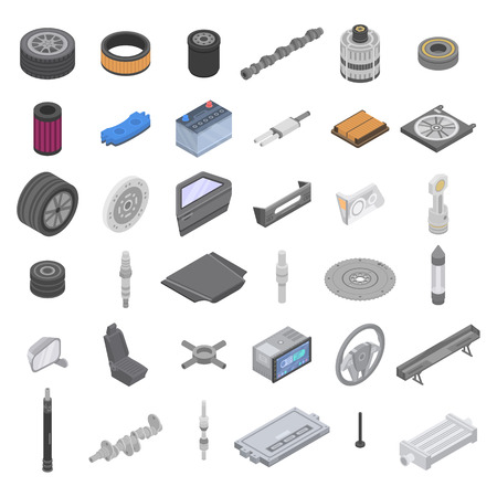 Car parts icons set. Isometric set of car parts vector icons for web design isolated on white background