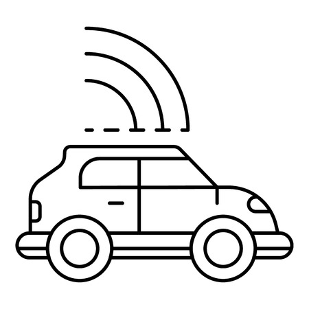 Safety driverless car icon, outline style Illustration