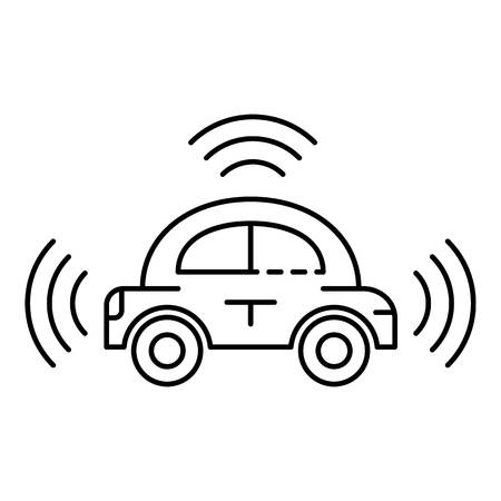 City driverless car icon. Outline city driverless car vector icon for web design isolated on white background Illusztráció