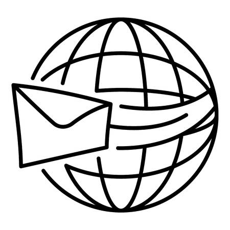 Global shipping delivery icon. Outline global shipping delivery vector icon for web design isolated on white background