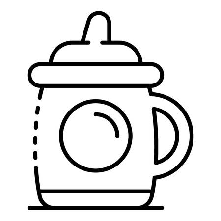 Infant sippy cup icon. Outline infant sippy cup vector icon for web design isolated on white background Ilustracja