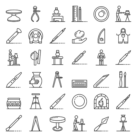 Potters wheel icons set, outline style