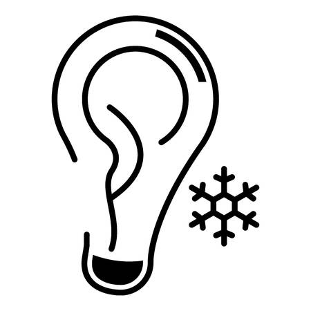 Ear frostbite icon, outline style