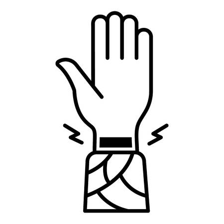 Frostbite wrist hand icon. Outline frostbite wrist hand vector icon for web design isolated on white background