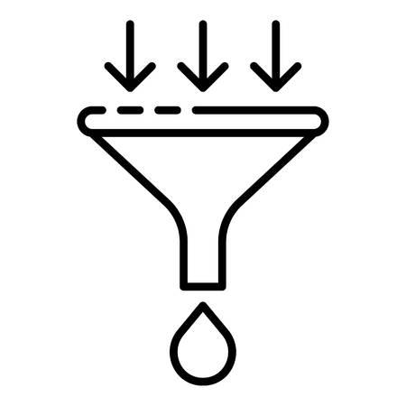 Symbol für Wasserfiltertrichter. Umriss-Wasserfiltertrichter-Vektorsymbol für Webdesign isoliert auf weißem Hintergrund Vektorgrafik