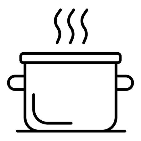 Boiling water pot icon, outline style
