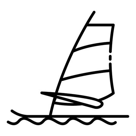 Wind surfing icon, outline style