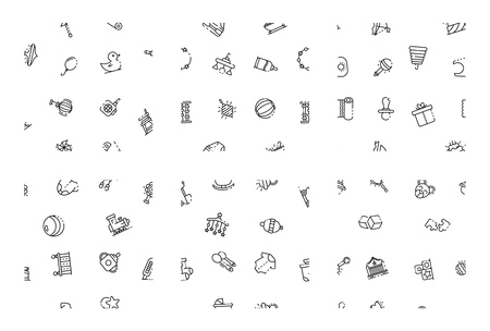 Baby newborn items pattern set. Outline set of baby newborn items vector pattern for web design isolated on white background Illusztráció