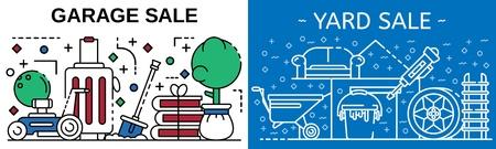 Garage sale banner set. Outline set of garage sale vector banner for web design