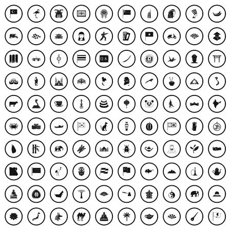 100 Asia icons set in simple style for any design vector illustration Ilustracja