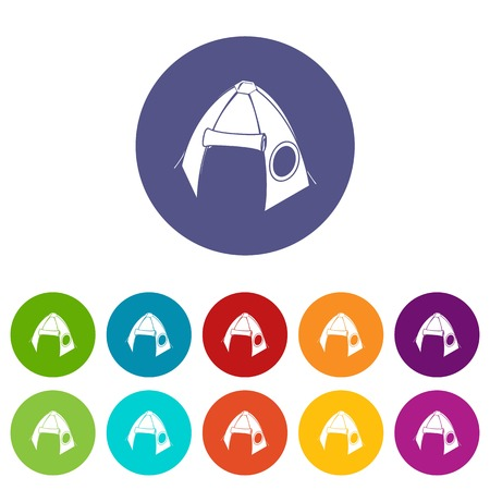 Tribal tent icons color set vector for any web design on white background