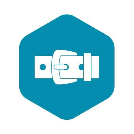 Black metal belt buckle icon. Simple illustration of black metal belt buckle vector icon for web Illustration