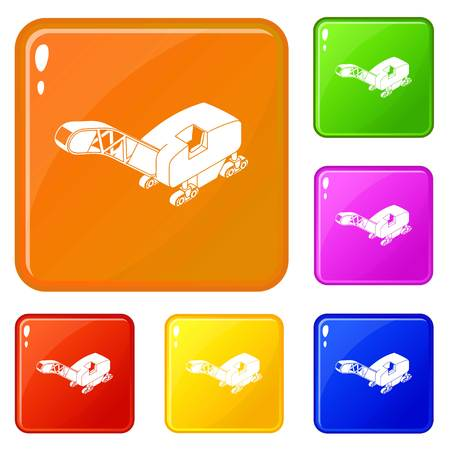 Mine band tractor icons set collection vector 6 color isolated on white background