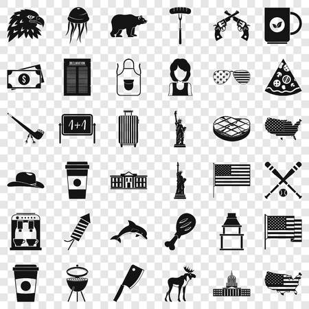 Usa flag icons set. Simple style of 36 usa flag vector icons for web for any design