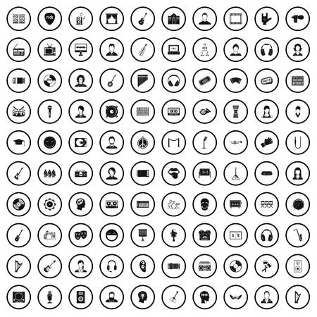 100 audience icons set in simple style for any design vector illustration Banque d'images - 125213564