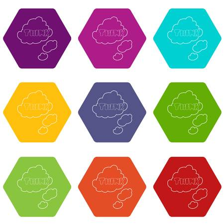 Cloud with think inscription icons 9 set coloful isolated on white for web