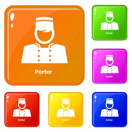 Porter icons set collection vector 6 color isolated on white background Illustration