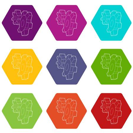 Cogwheels icons 9 set coloful isolated on white for web
