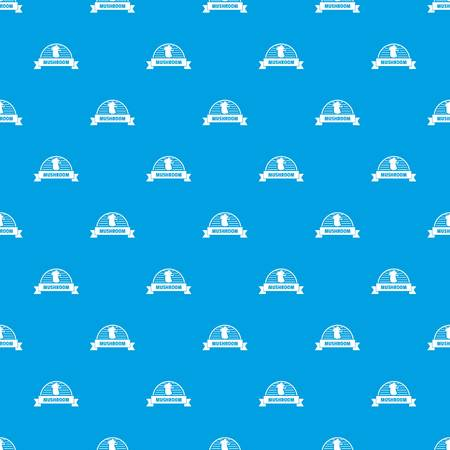 Mushroom cooking pattern vector seamless blue repeat for any use