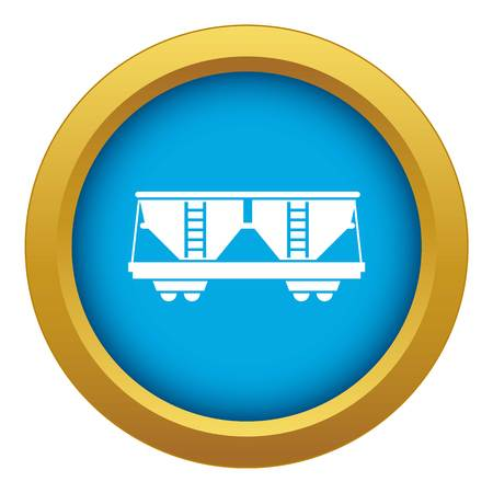 Freight railroad car icon blue vector isolated on white background for any design