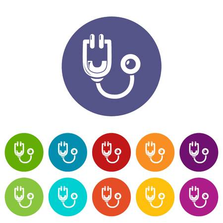 Stethoscope icons color set vector for any web design on white background