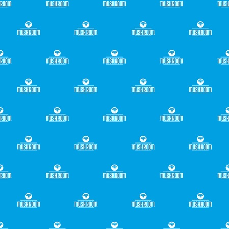 Mushroom plant pattern vector seamless blue repeat for any use Ilustrace